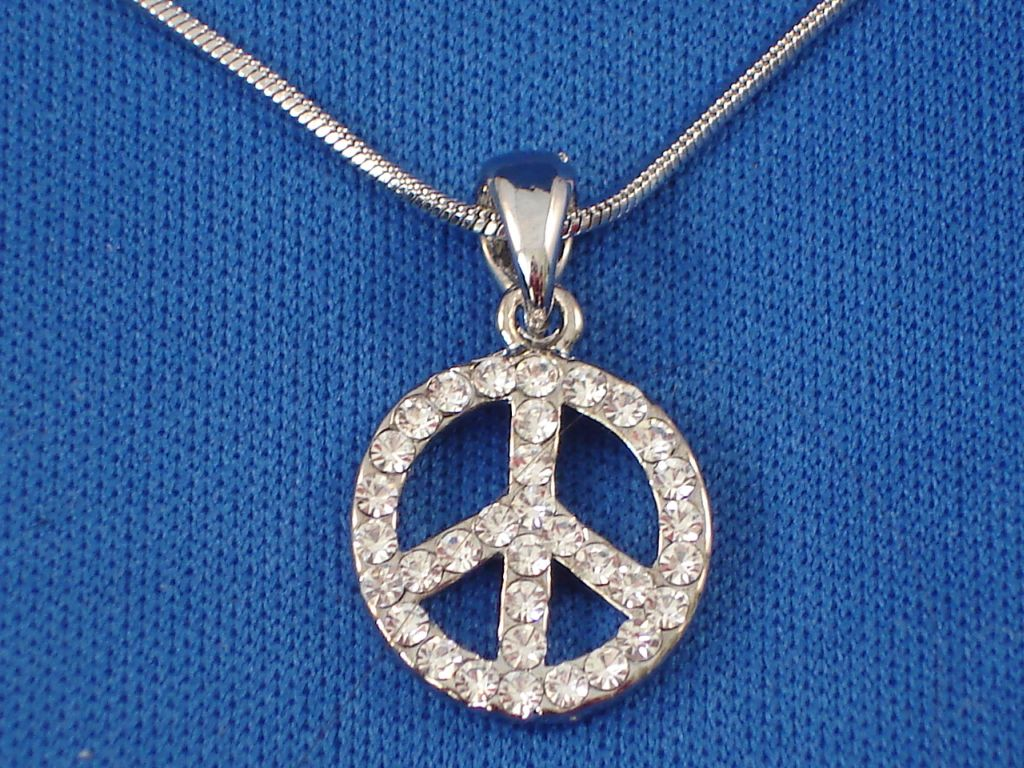 7/8 inch Peace Necklace with Zircon Stones, Sterling Silver, Fashion Jewelry