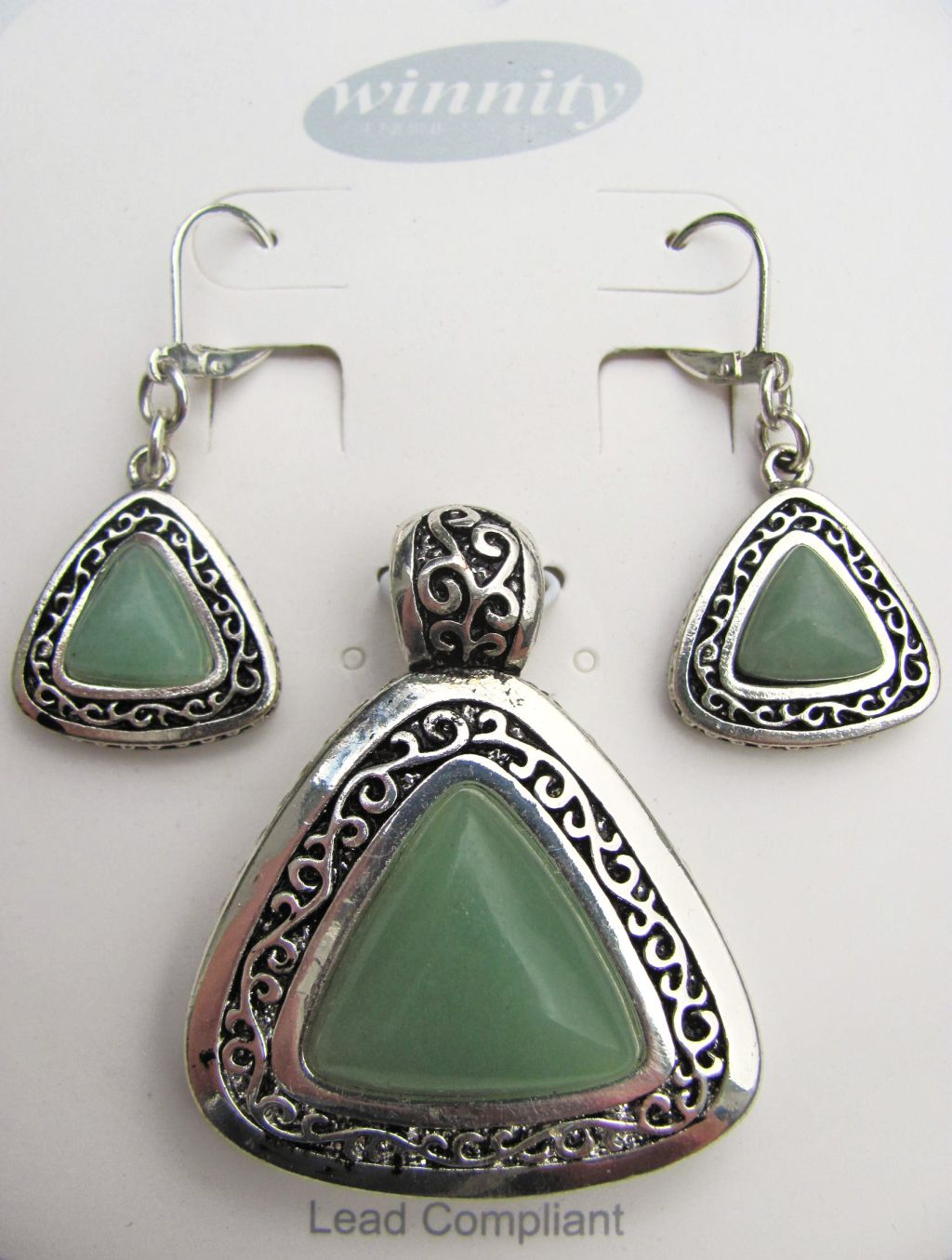 Adventurine Vintage Triangle Pendant Earrings Set, Genuine Stone