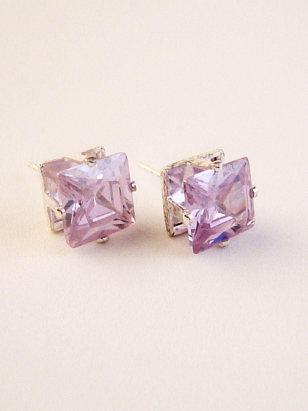 Alexandrite Princess Cut Silver Stud Earrings Genuine CZ Cubic Zirconia