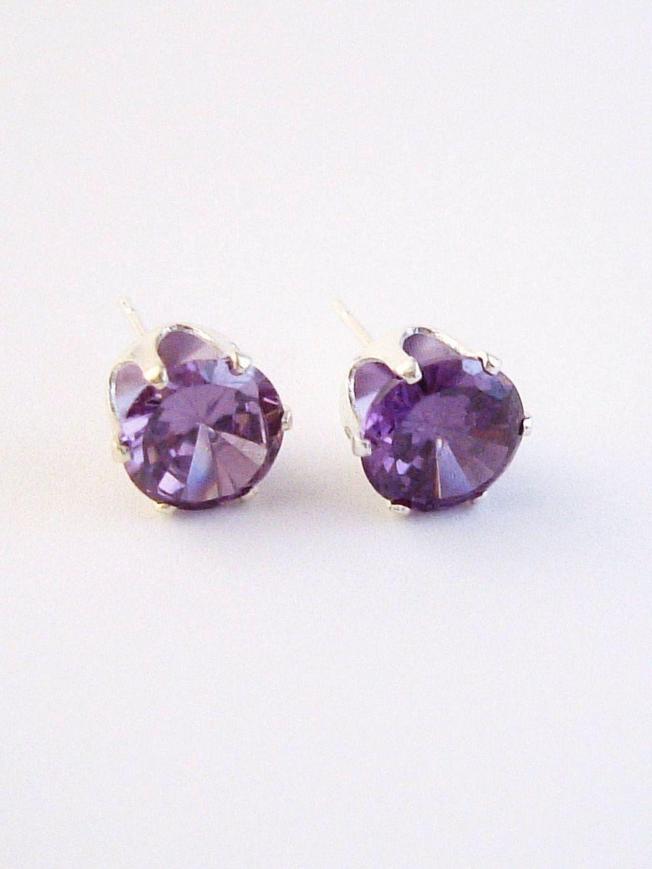 Amethyst Round Cut Silver Stud Earrings Genuine Cz Cubic