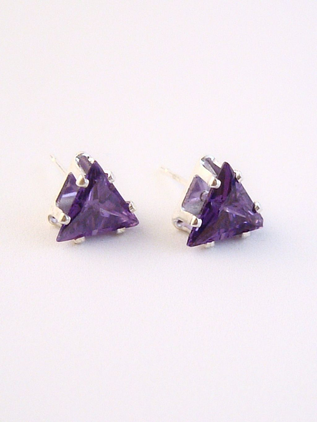 Amethyst Triangle Cut Silver Stud Earrings Genuine CZ Cubic Zirconia