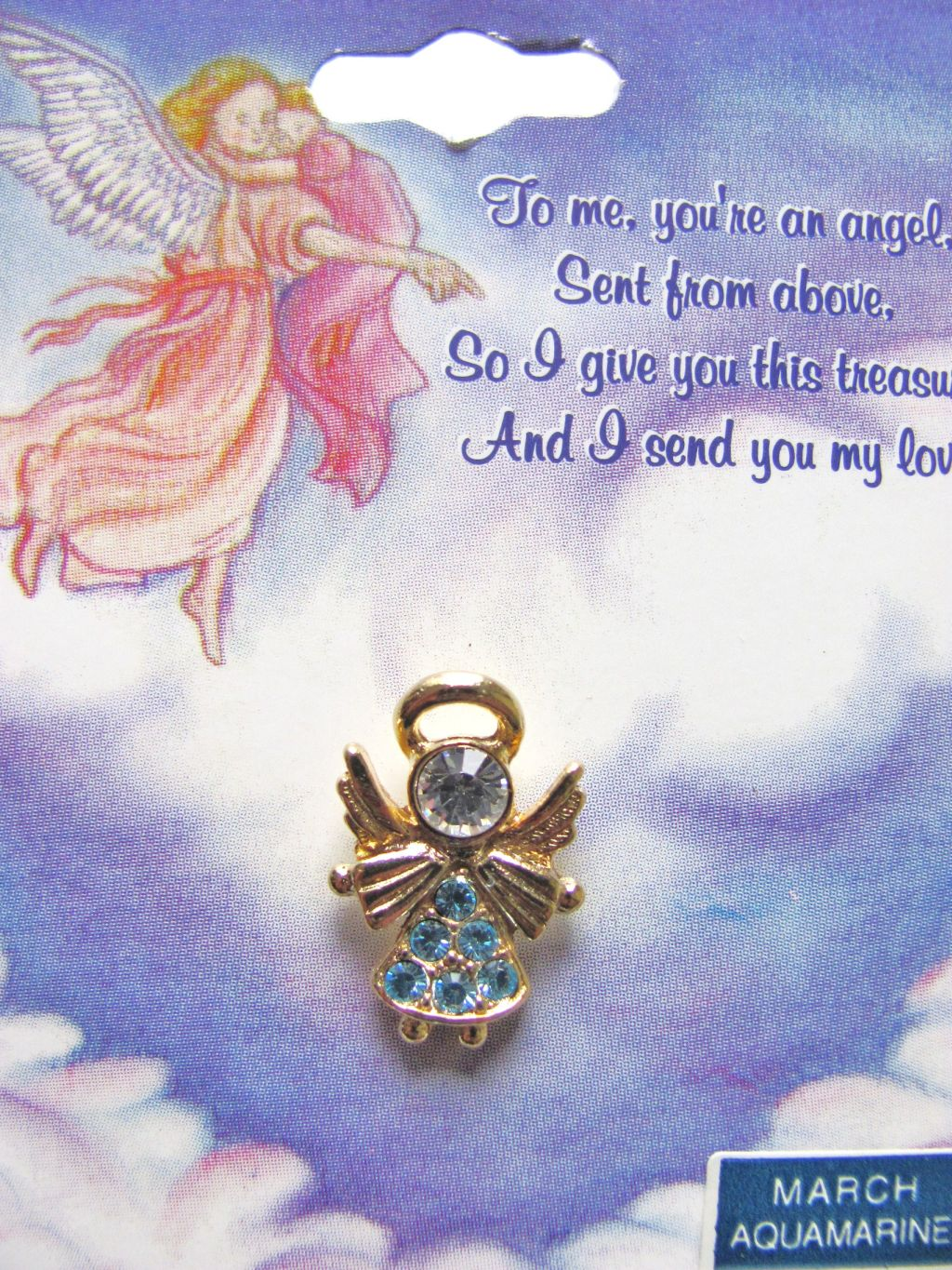 Aquamarine-March Birthstone Angel Pin Gold Tone, Genuine Austrian Crystals