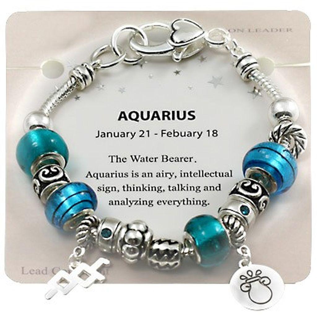b821f00abee Aquarius Zodiac Sign Charm Bracelet, Pandora Inspired Beads