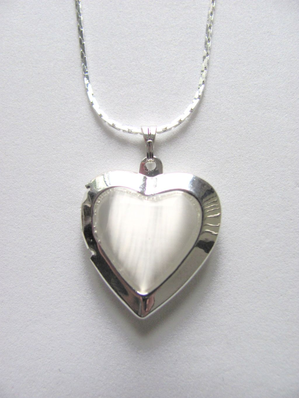 Arctic Pearl Heart Locket Photo Pendant Necklace, Silver Tone