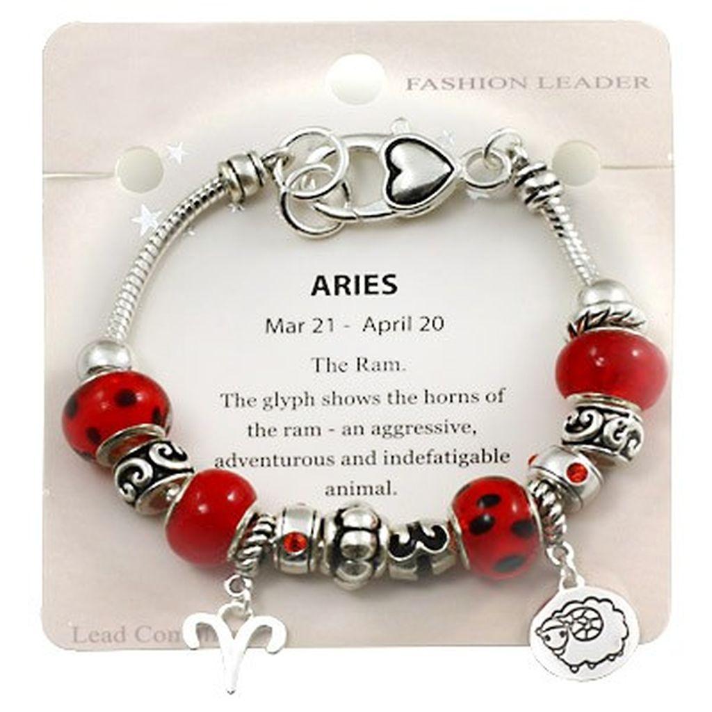 Zodiac Charm Bracelet: Aries Zodiac Sign Charm Bracelet Pandora Inspired Bead