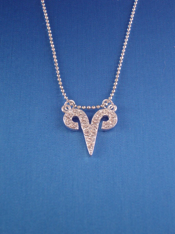 Aries Zodiac Sign Necklace Cz Cubic Zirconia Crystals 16