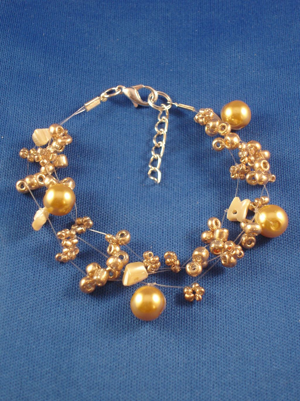 Beige Contemporary Bracelet, Artificial Pearls, Genuine Stones, Beads