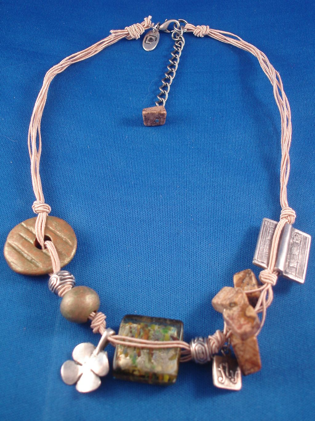 Beige Necklace Stained Glass Ceramic Genuine Stones