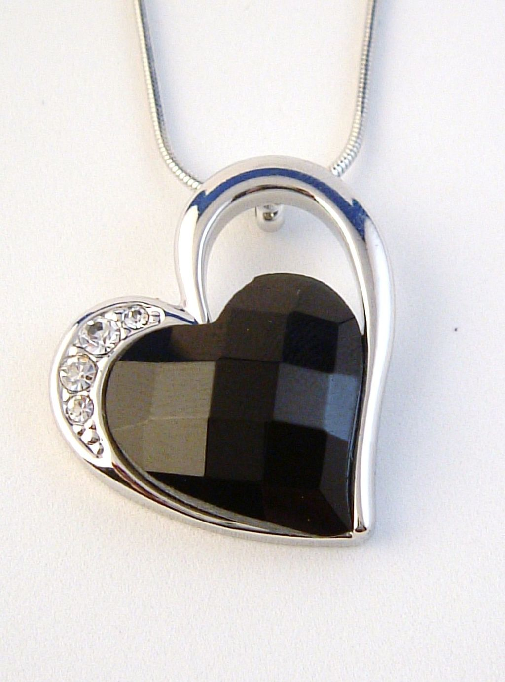 Black Diamond Large Heart Pendant Necklace, Genuine Austrian Crystals