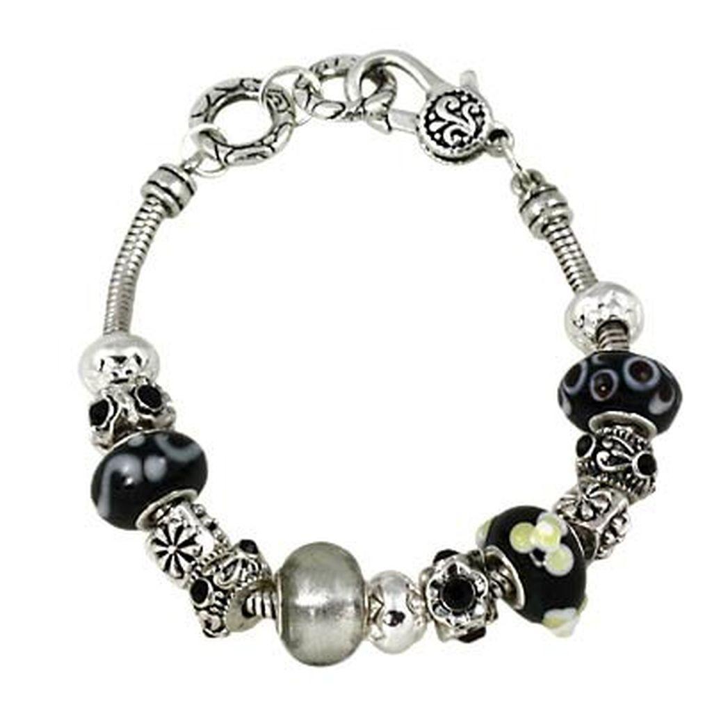 Pandora Type Jewelry: Black Diamond Murano Glass Bead Sliding Bracelet Pandora