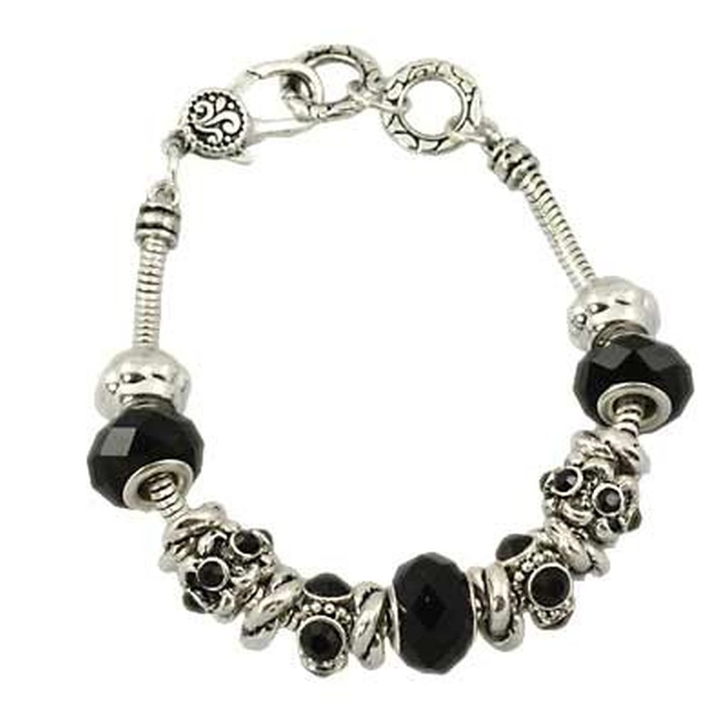 Black Diamond Murano Glass Bead Bracelet Pandora Inspired Vintage Style