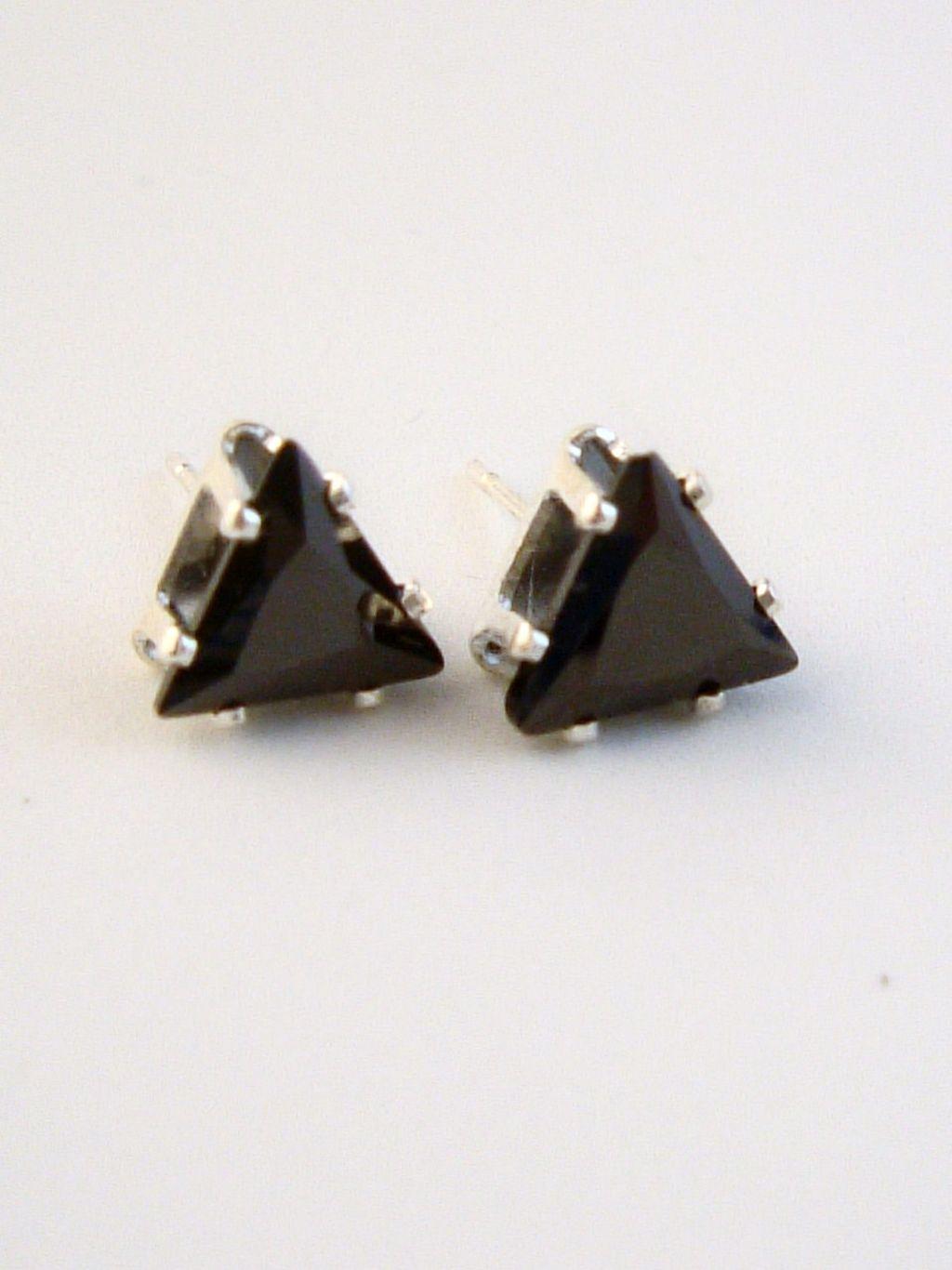Black Diamond Triangle Cut Silver Stud Earrings Genuine Cz