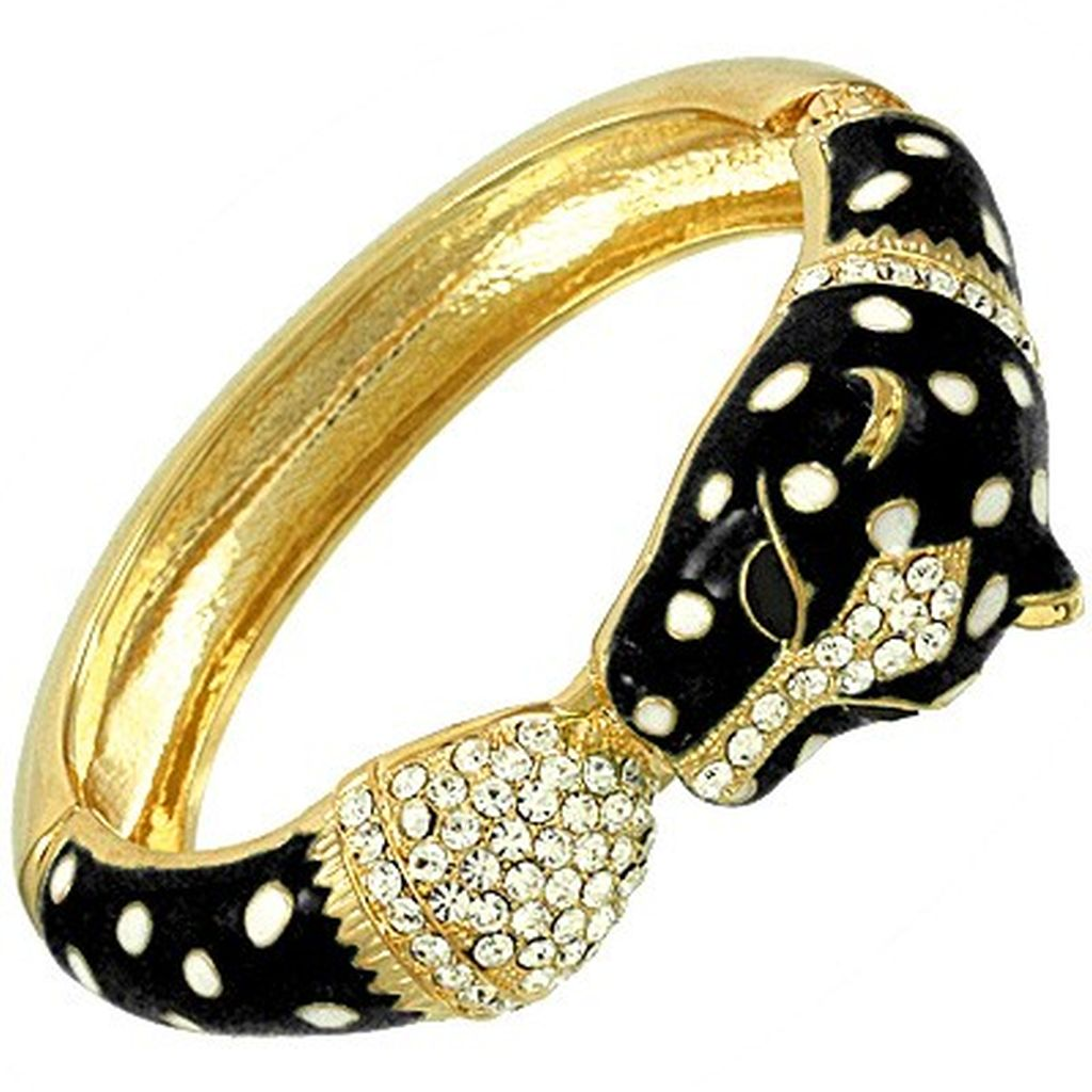Black & Gold Leopard Head Bangle Bracelet w/ Rhinestones