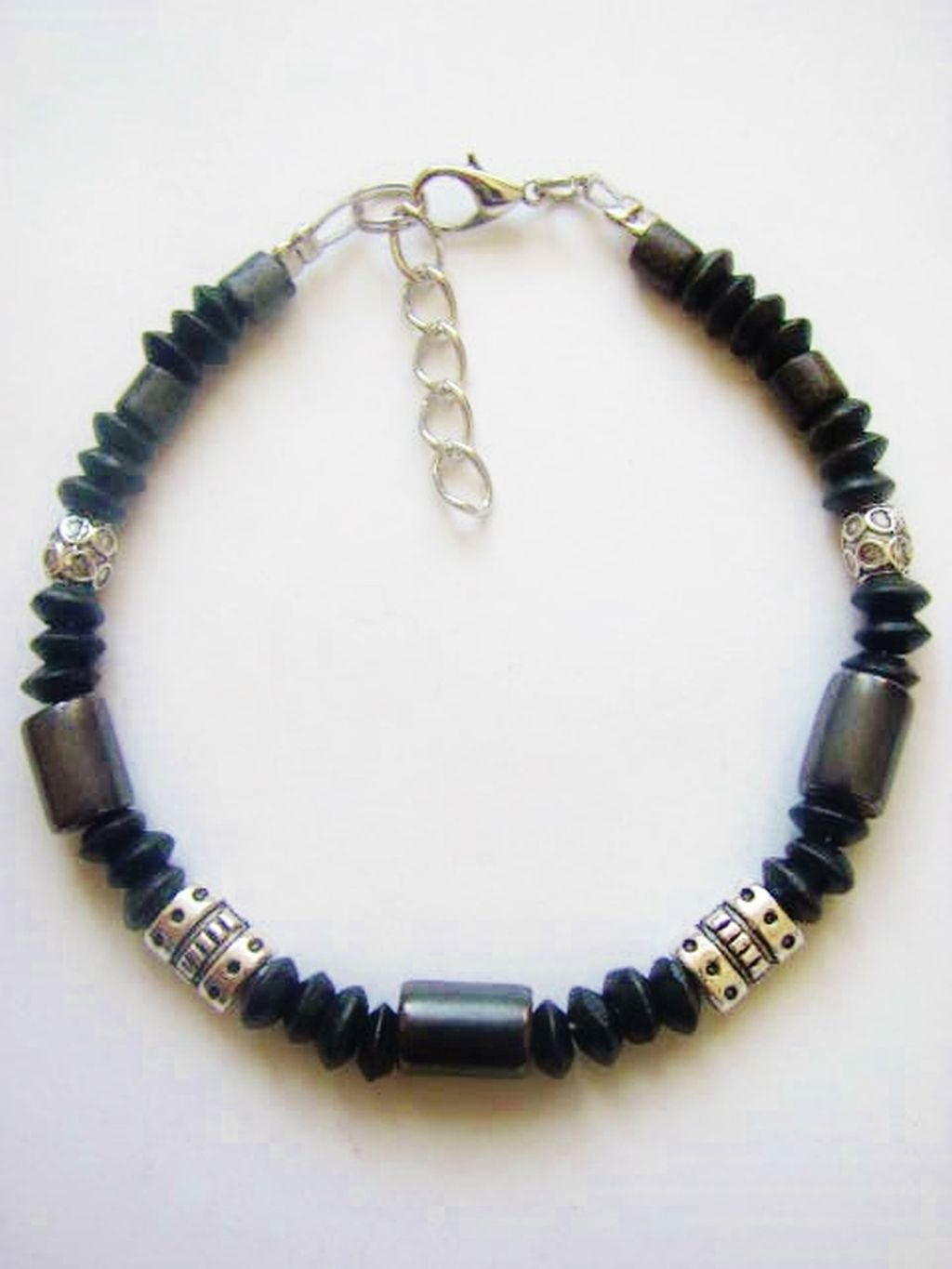 Black Hematite Men's Surfer Style Beaded Bracelet, Beach Choker