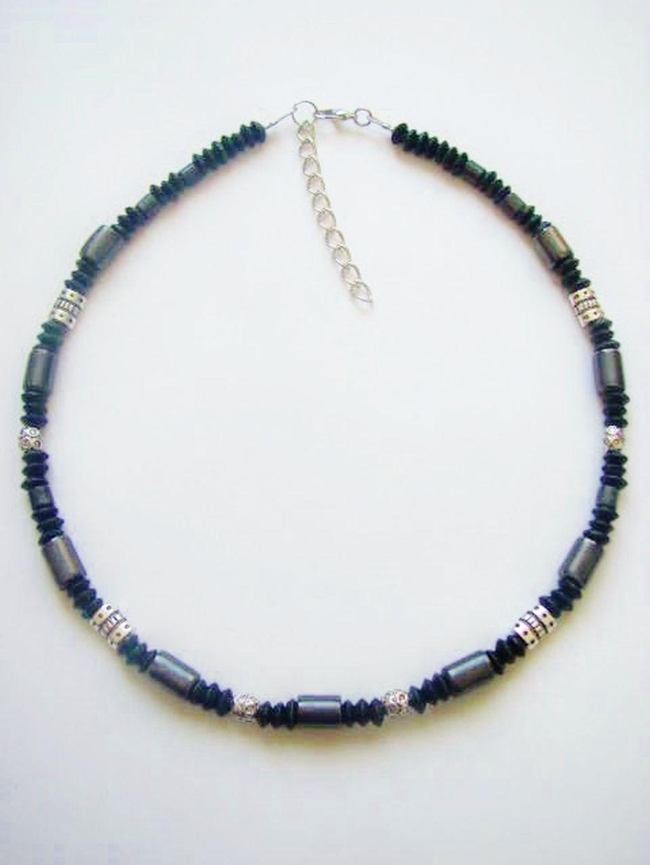 black hematite s surfer style beaded necklace