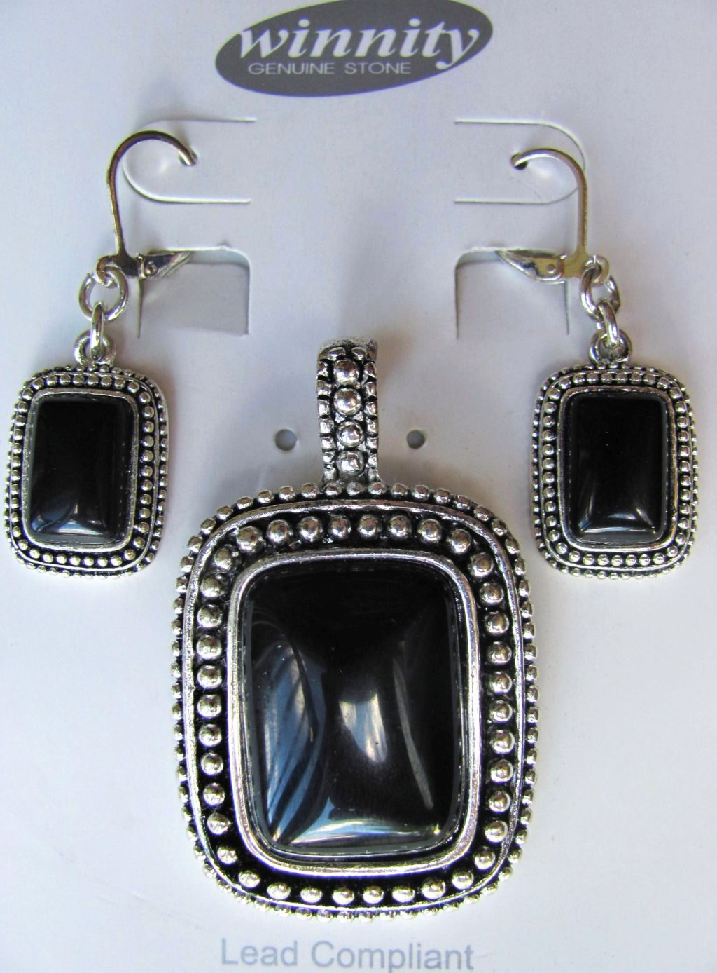 Black Onyx Vintage Rectangle Pendant Earrings Set, Genuine Stone