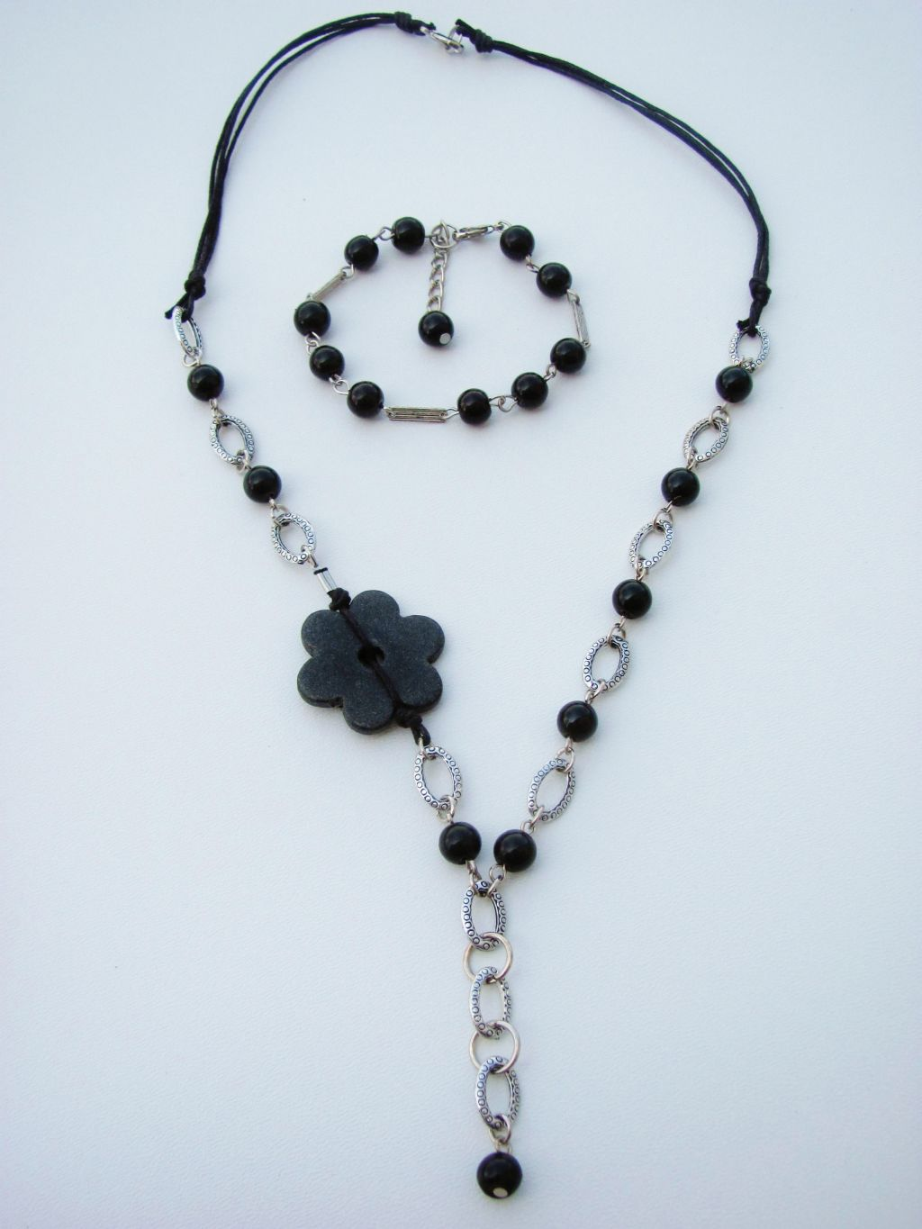 Black Pearl Beads Flower Chain Necklace Bracelet Set