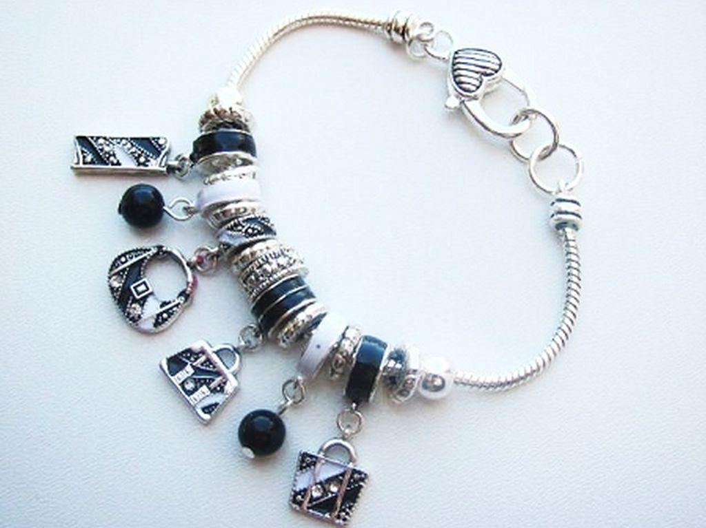 Black White Fashion Purse Charm Bead Bracelet Pandora