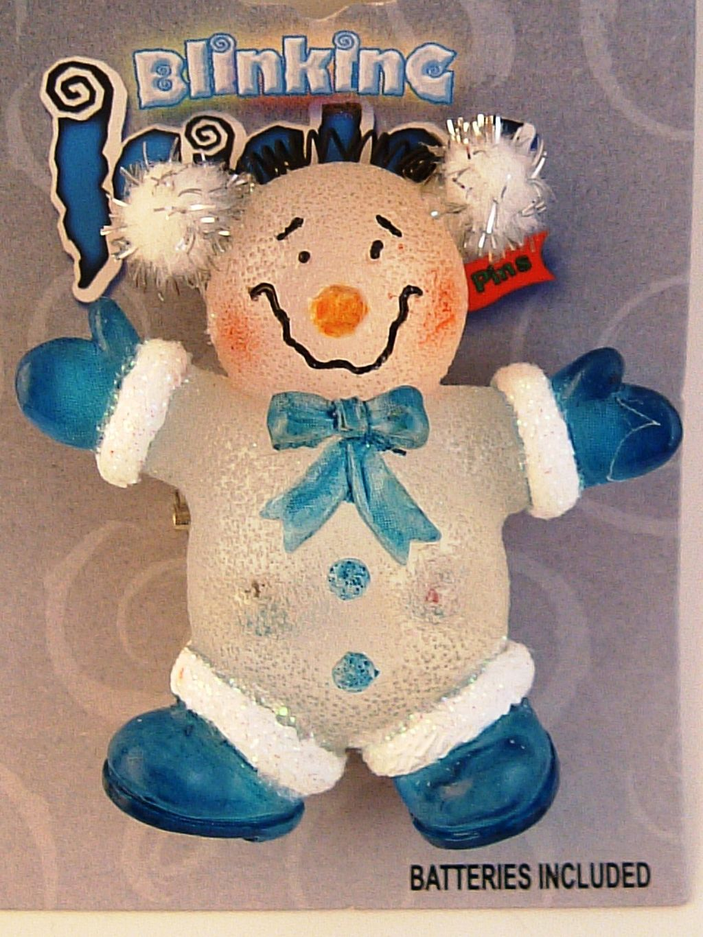 Blinking Icicle Christmas Lights Blue Clown Brooch Pin, Batteries Included