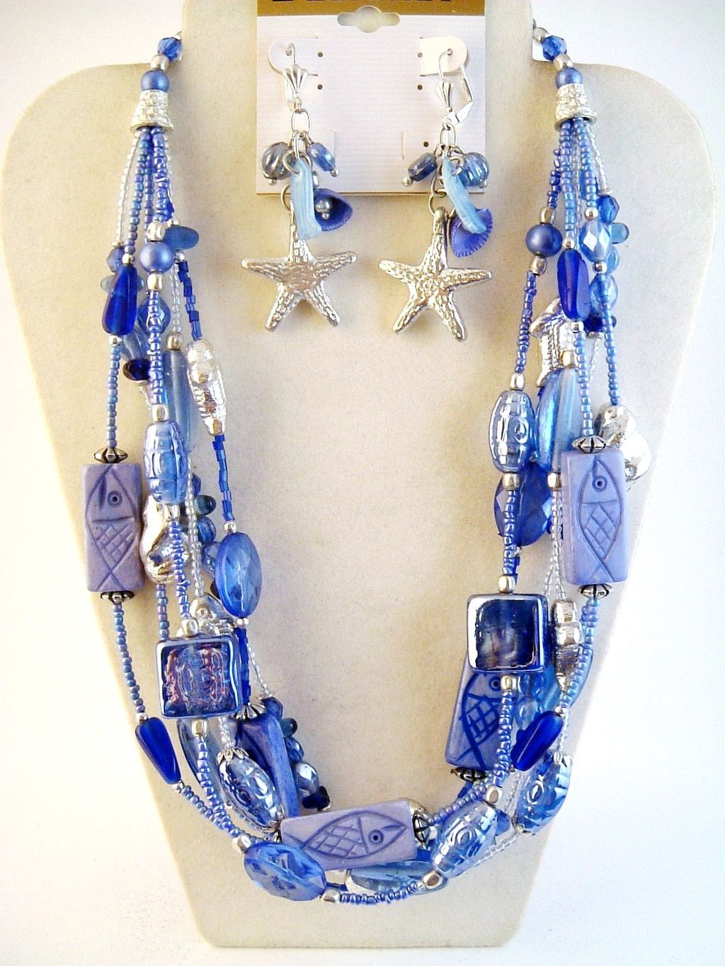 Blue Fish Sea Star Starfish Glass Beads Multi Layer