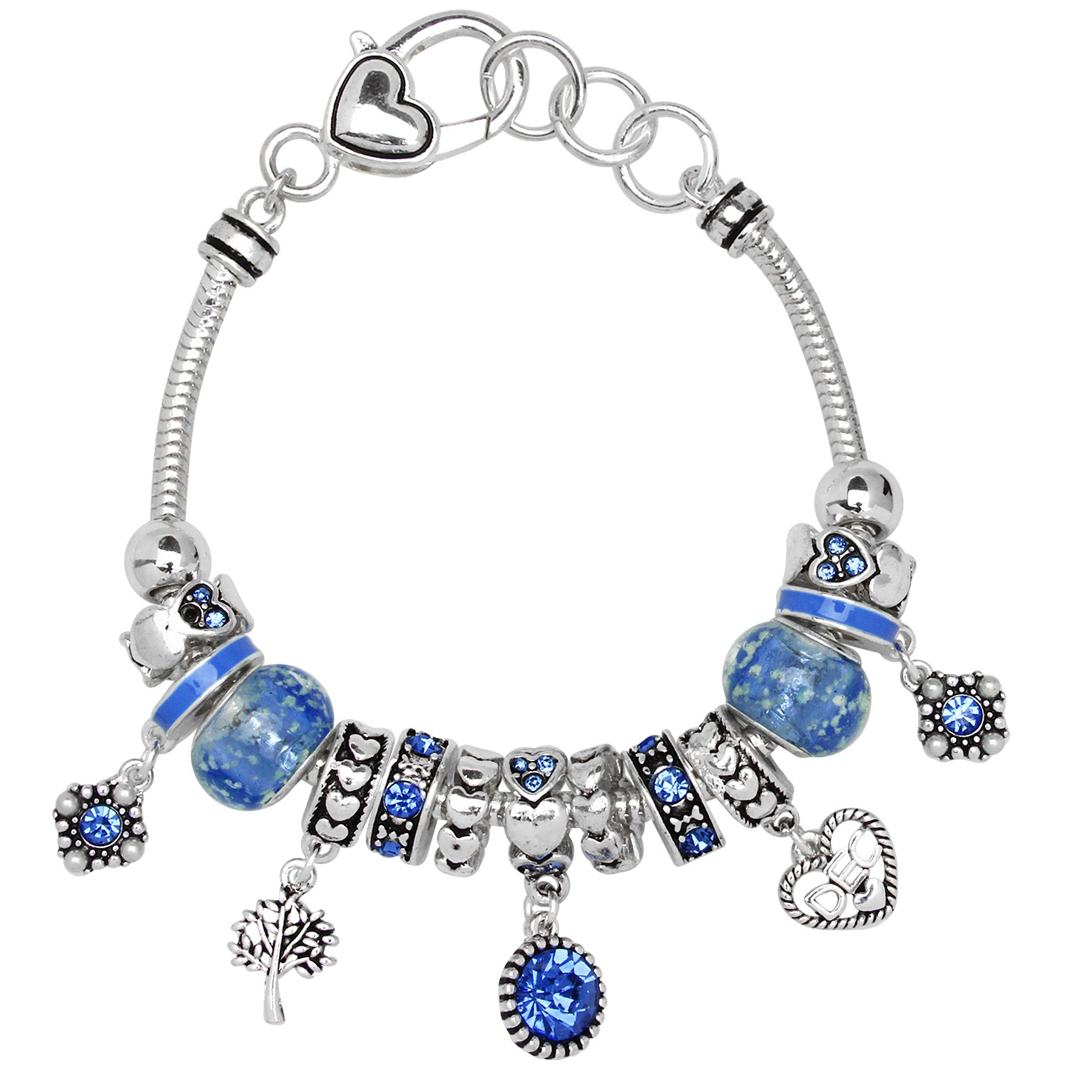 Blue Zircon December Birthstone Charm Bracelet Murano Beads ...