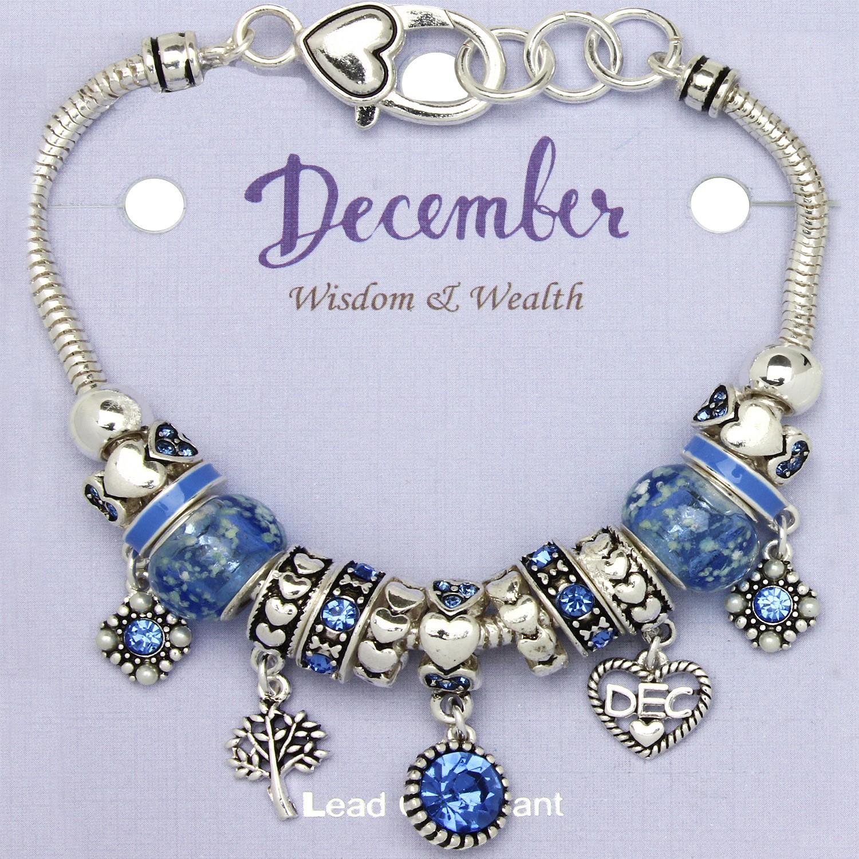 Blue Zircon December Birthstone Charm Bracelet Murano Beads