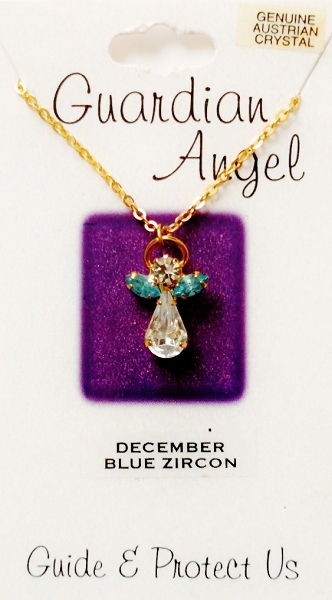 Blue Zircon December Birthstone Guardian Angel Pendant