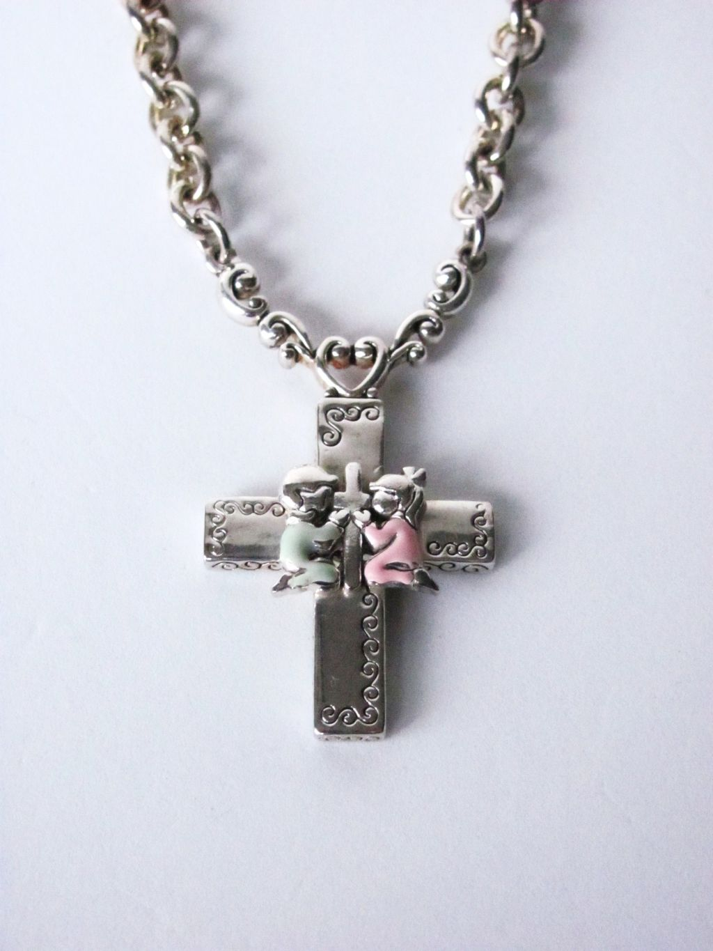 Boy & Girl Prayer Vintage Cross Pendant Necklace, Silver Tone