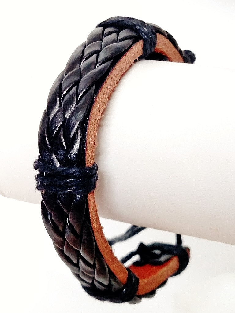 Braided Rope Beach Black Leather Bracelet Surfer Style