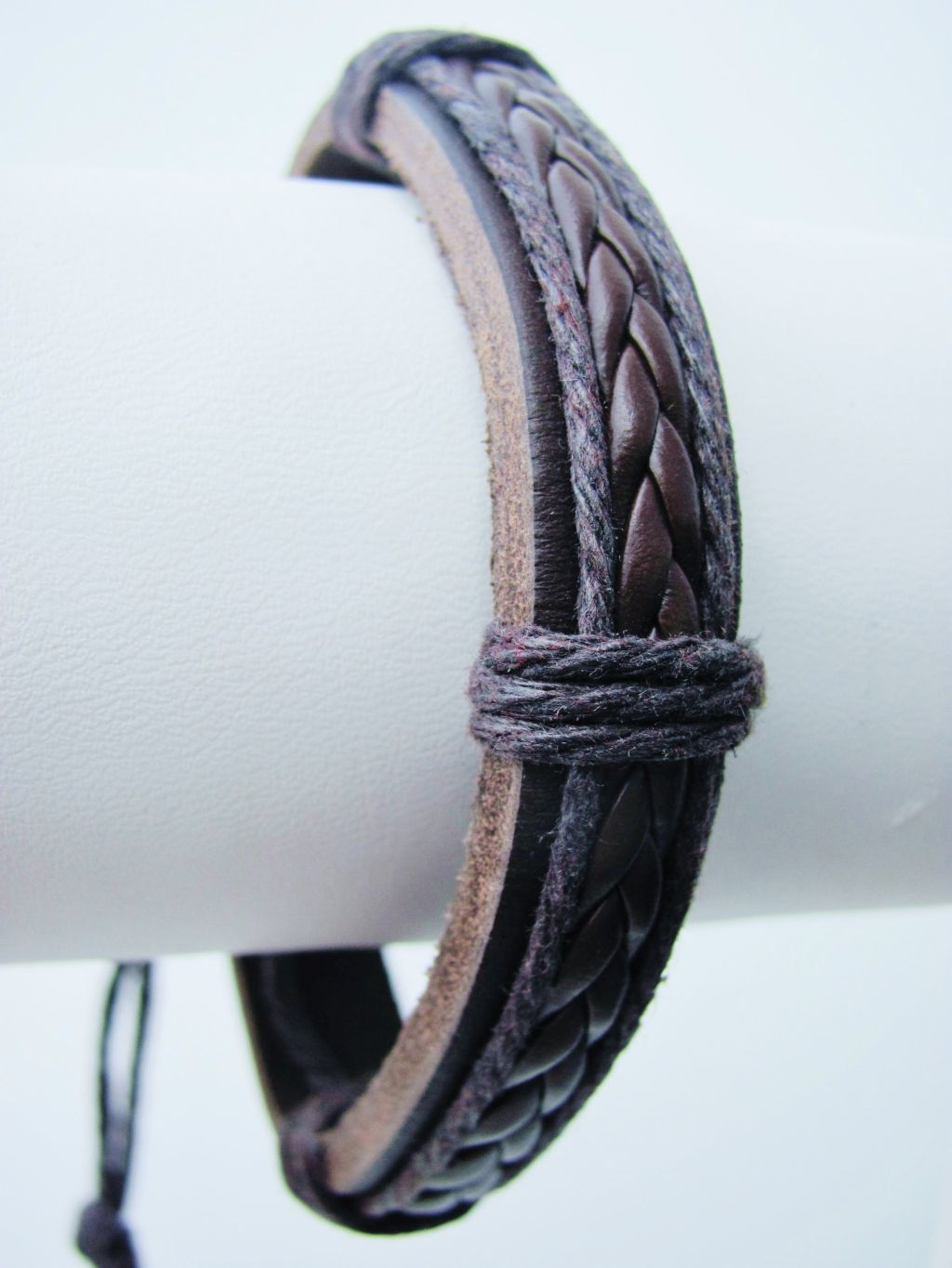 Braided Rope Beach Surfer Style Brown Leather Bracelet