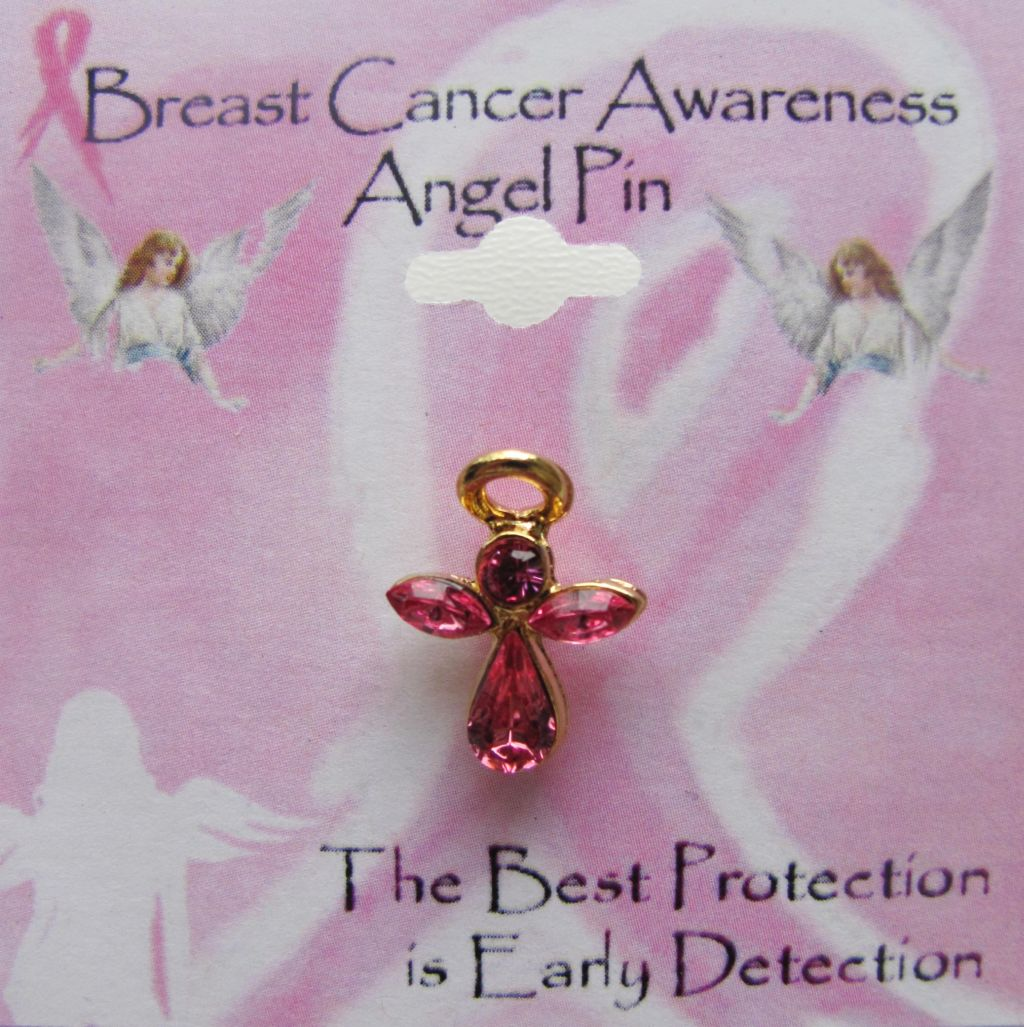 Breast Cancer Awareness Pin Pink Guardian Angel, Genuine Austrian Crystals