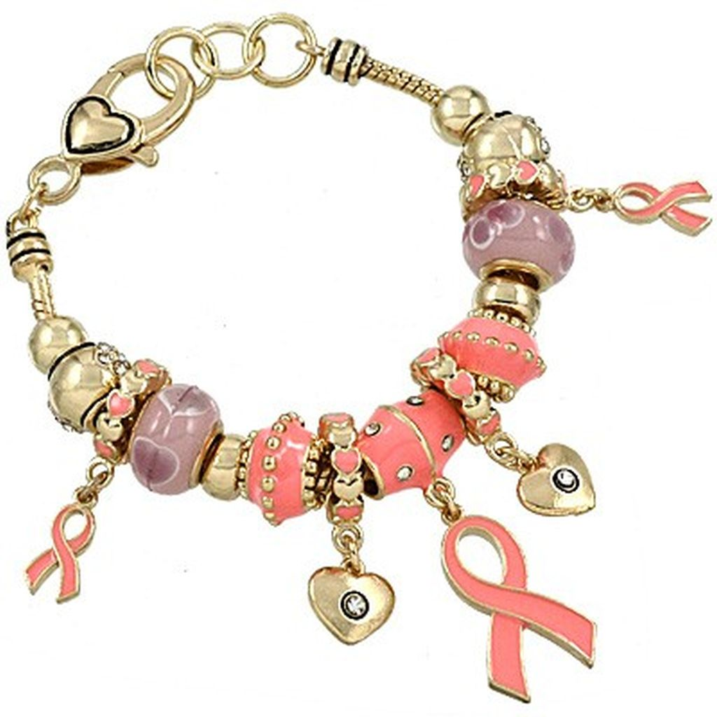 Pandora Inspired Breast Cancer Pink Ribbon Heart Charm Bracelet, Gold Tone