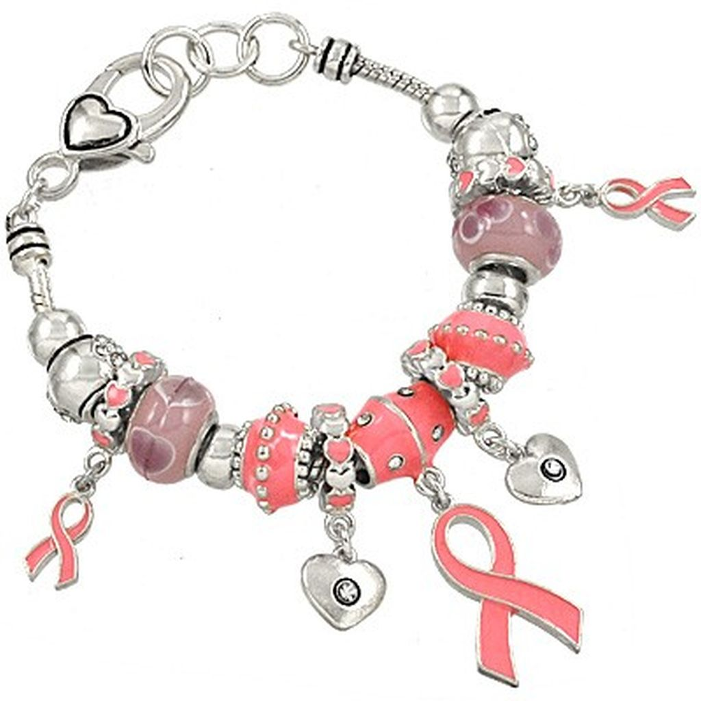 Pandora Inspired Breast Cancer Pink Ribbon Heart Charm Bracelet, Silver Tone