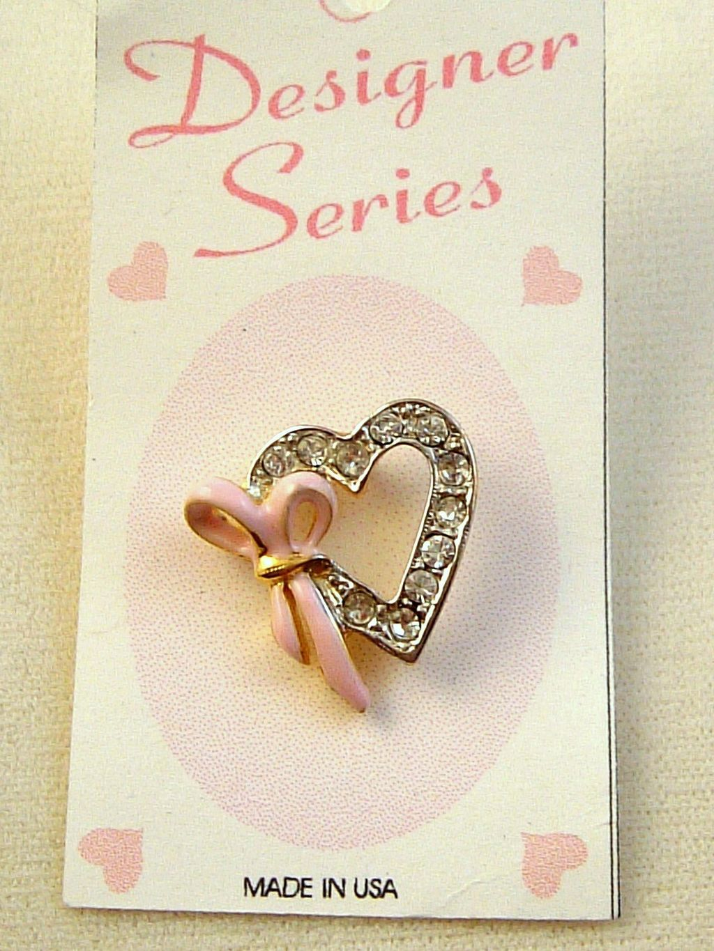 Breast Cancer Pink Ribbon Heart Pin, Two-tone Gold Silver, Clear Diamond Crystal