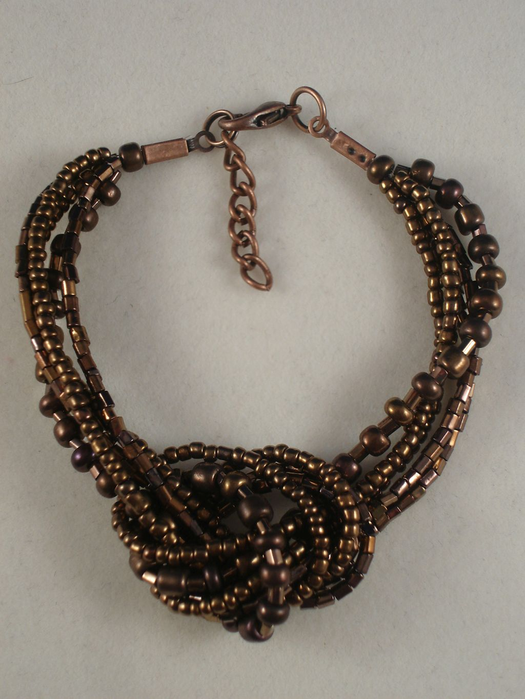 Brown Beads Contemporary Knot Bracelet