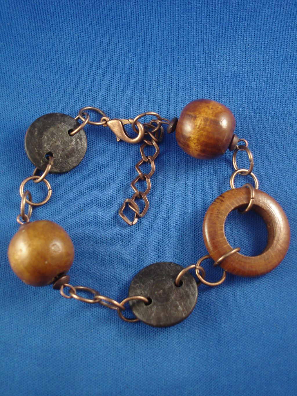 Brown Genuine Wood Contemporary Bracelet, Large Wooden Beads