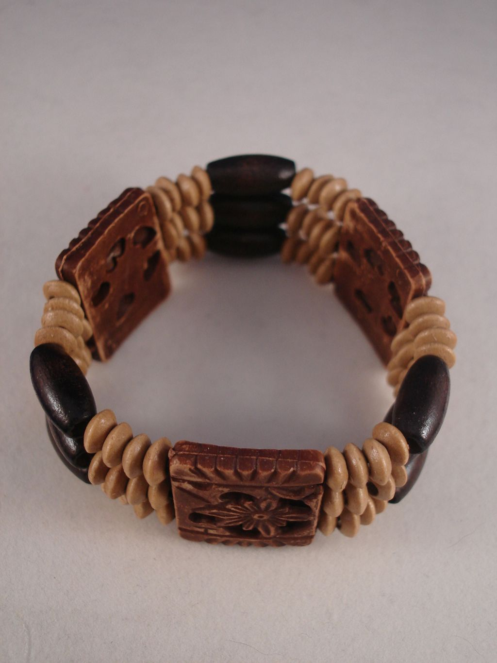 Brown Stretching Bracelet, Ceramic & Wood Beads, Anti-Allergic Jewelry