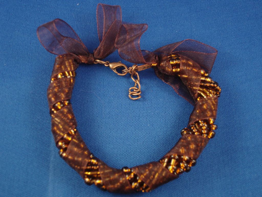 Brown Stripe Ribbon Contemporary Bead Bracelet