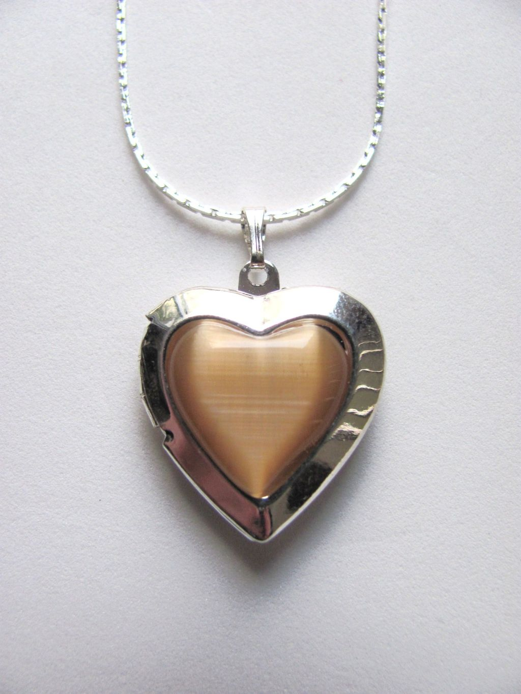 Brown Topaz Heart Locket Photo Pendant Necklace, Silver Tone