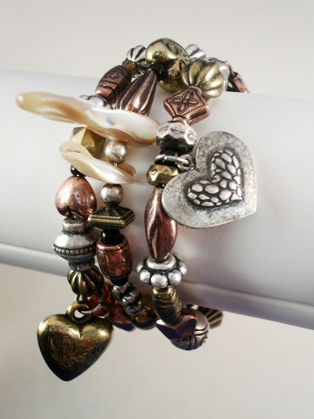 Bulky Three Layers Bypass Bangle Bracelet, Coil Stretching, Heart Charms, Cooper, Bronze & Silver Tone Beads, Shells,  Anti-allergic Jewelry
