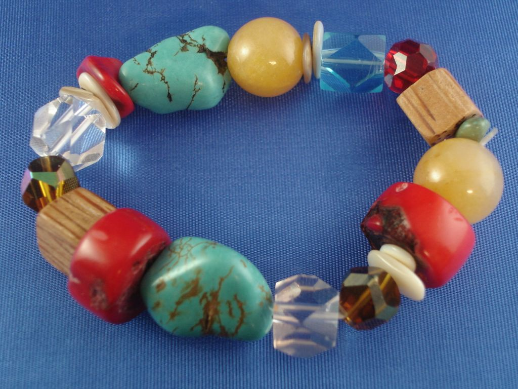 Bulky Turquoise Stones Stretching Bracelet, Stained Glass & Wooden Beads, Anti-allergic Jewelry