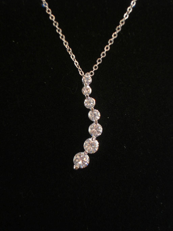 Cz cubic zirconia diamonds journey pendant silver tone necklace quick view aloadofball Image collections