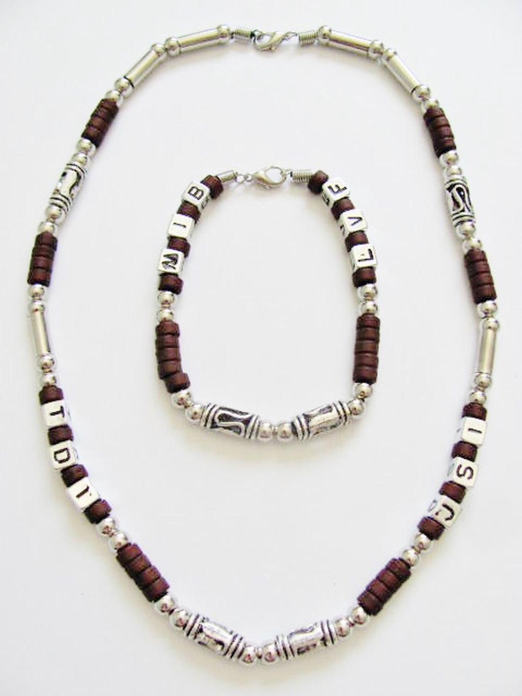 Cancun Hot Chrome/Brown Random Letters Bead Necklace Bracelet, Men's Surfer Style