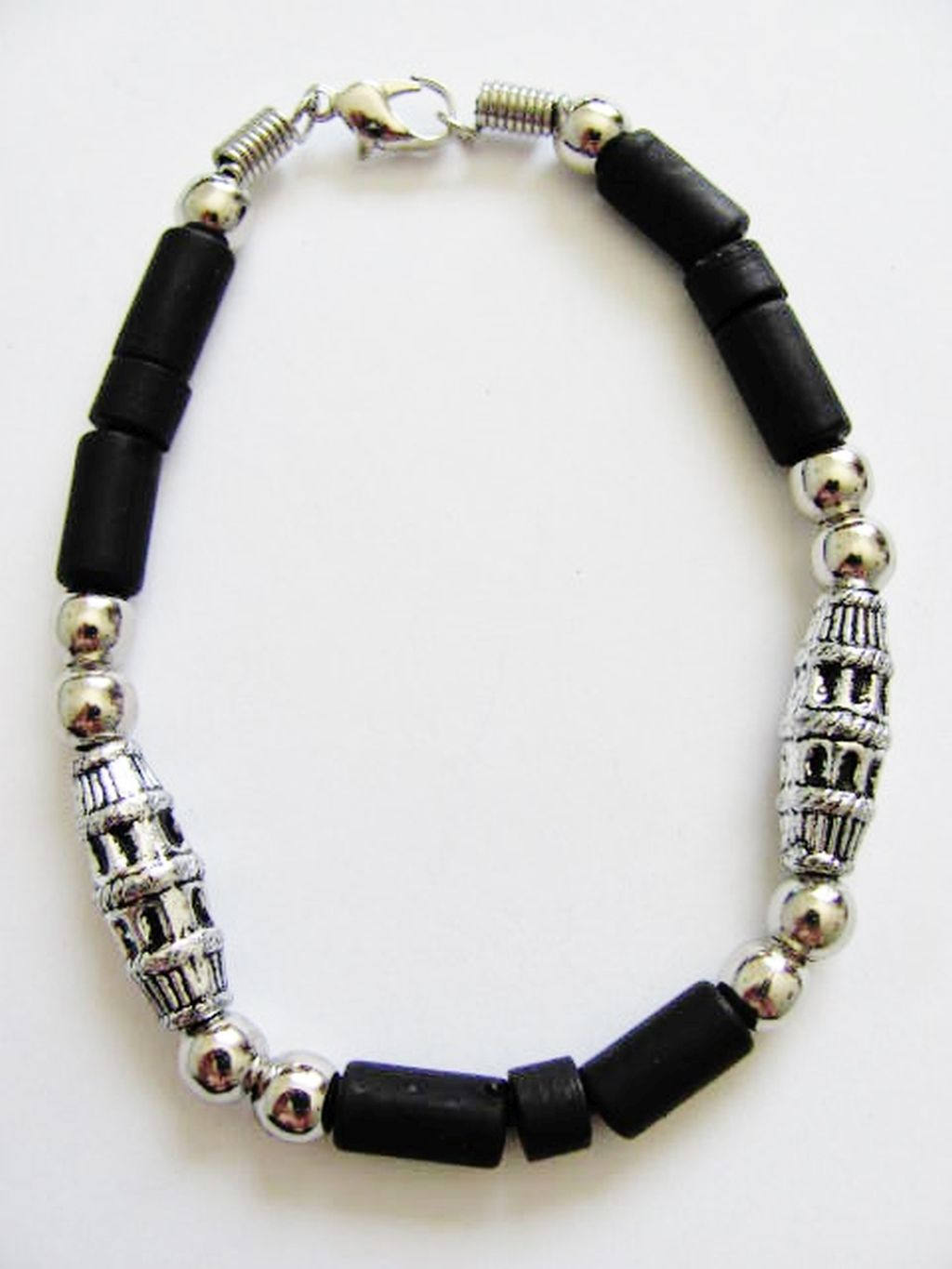Cancun Hot Chrome/Extreme Black Men's Bead Bracelet, Surfer Style