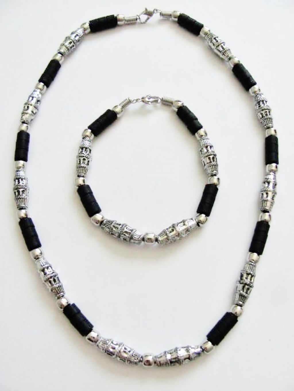 Cancun Hottest Chrome Extreme Black Men\'s Bead Necklace Bracelet ...