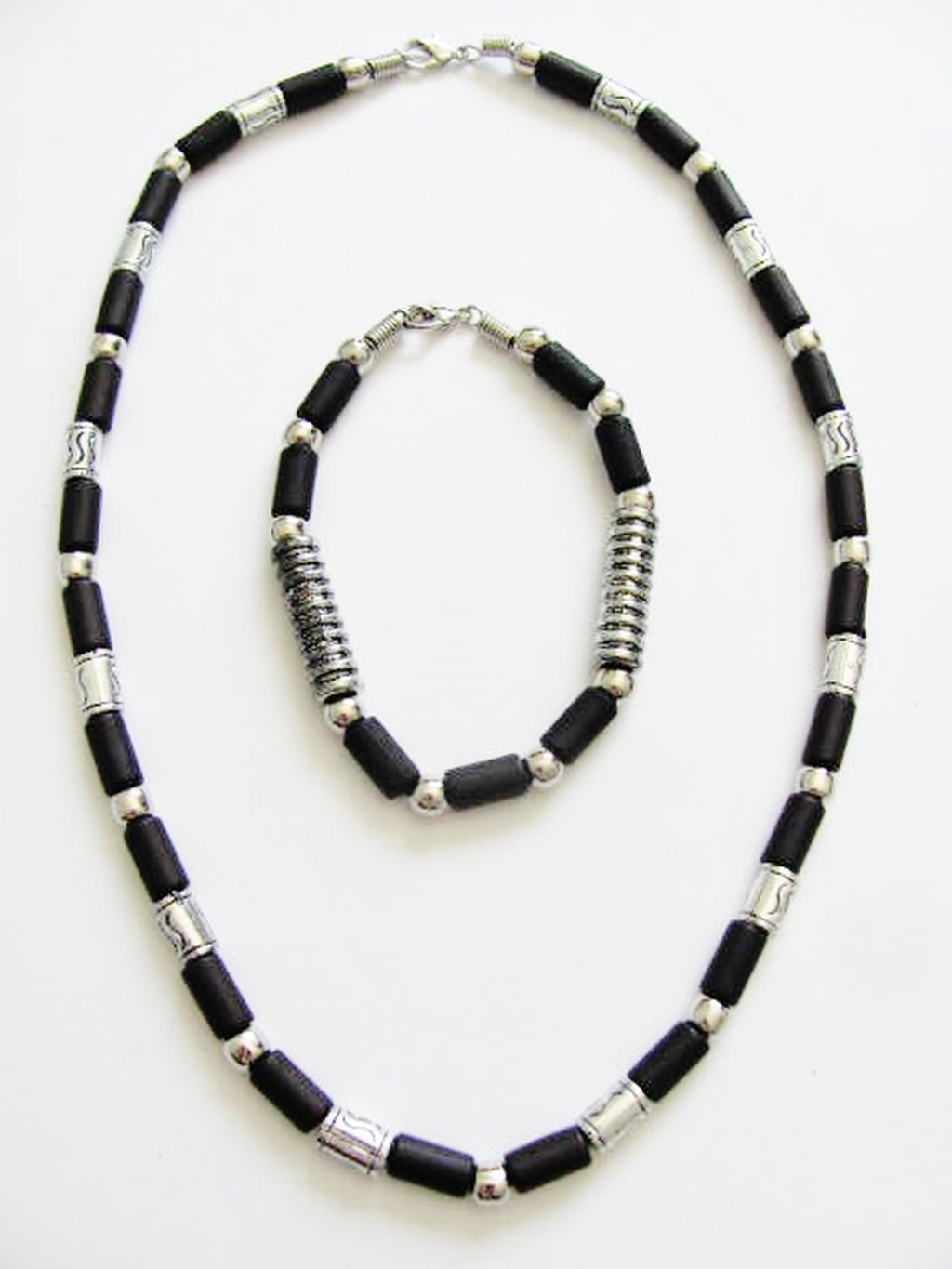 Cancun Hot Chrome/Extreme Black Men's Bead Necklace Bracelet, Surfer Style