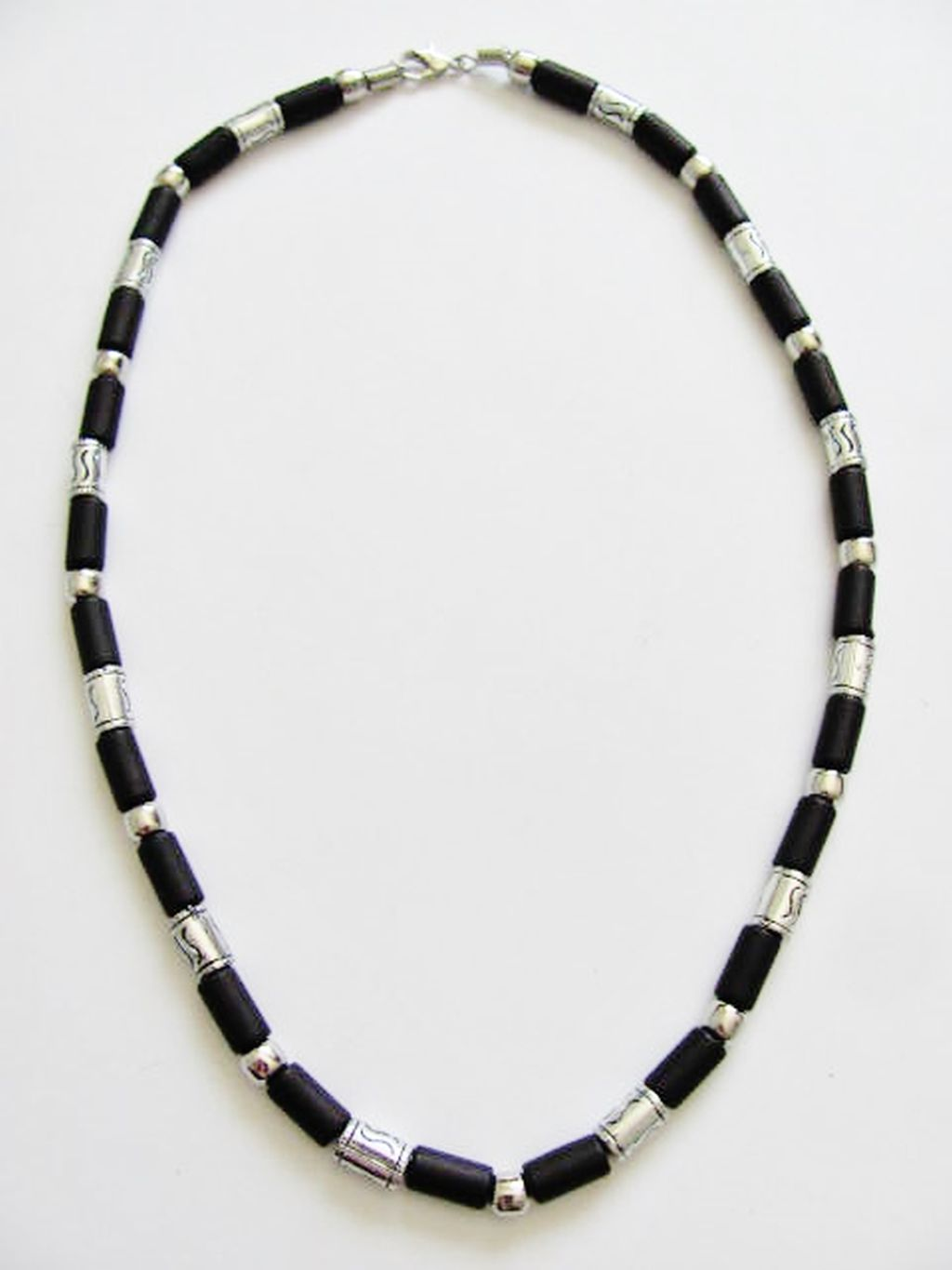 Cancun Hot Chrome/Extreme Black Men's Bead Necklace, Surfer Style