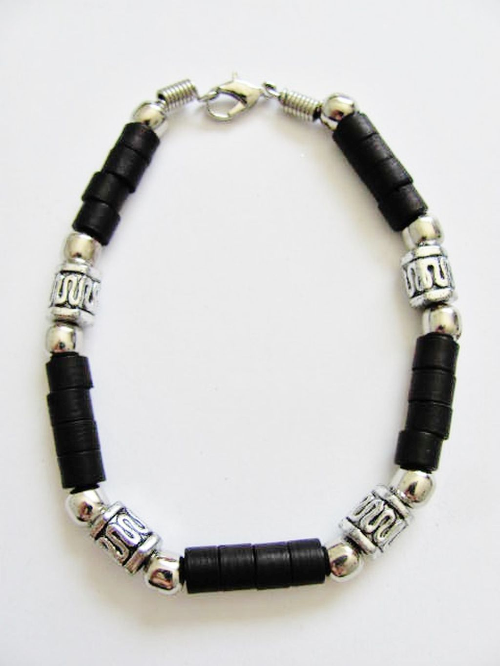 Cancun Hot Chrome/Extreme Brown Men's Bead Bracelet, Surfer Style