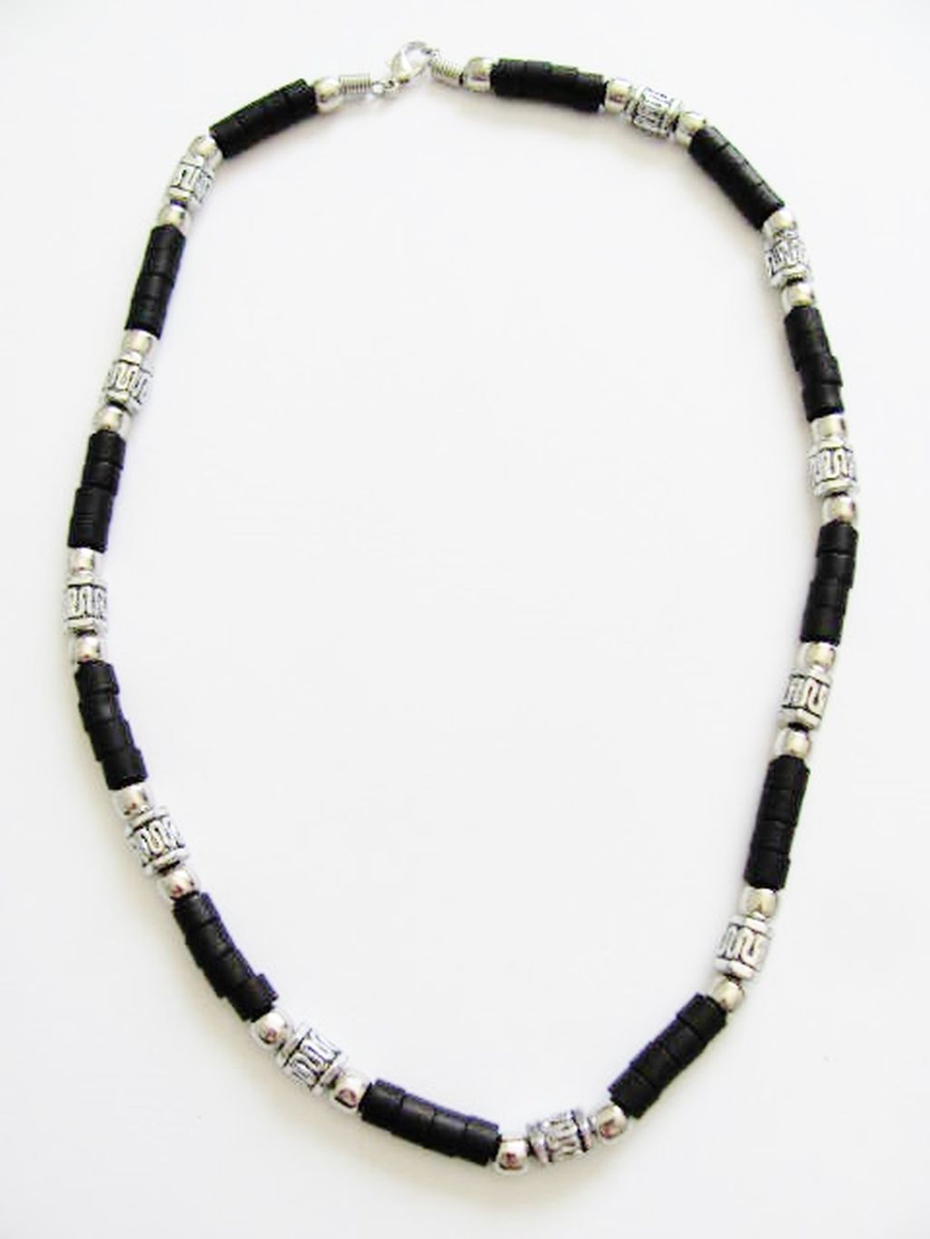 Cancun Hot Chrome/Extreme Brown Men's Bead Necklace, Surfer Style