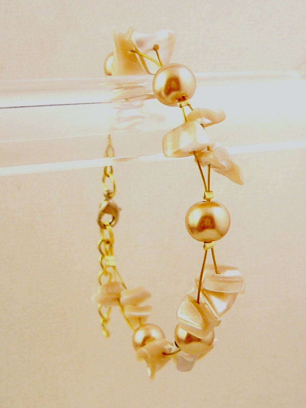Champagne Bracelet, Two Layers of Genuine Shells & Artificial Pearls, Fashion European Jewelry